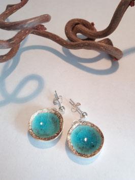 """grandes boucles d'oreilles pendantes """"turquoise"""" supports en laiton argenté"""