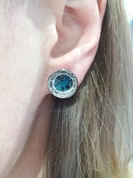"""puces d'oreilles """"grand bleu"""" supports en laiton argenté"""