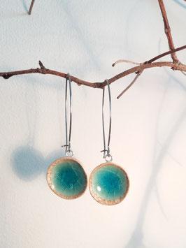 """boucles d'oreilles longues """"turquoise"""" supports en inox et laiton argenté"""