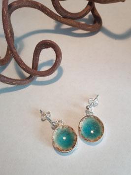 """petites boucles d'oreilles pendantes """"turquoise"""" support en argent 925"""