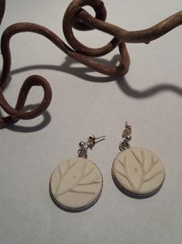 """grandes boucles d'oreilles pendantes """"arbres"""" blanches supports en argent 925"""
