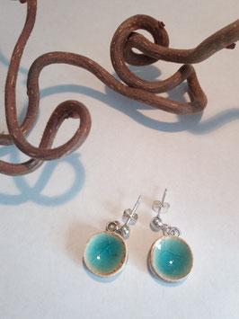 """petites boucles pendantes """"turquoise"""" supports en laiton argenté"""