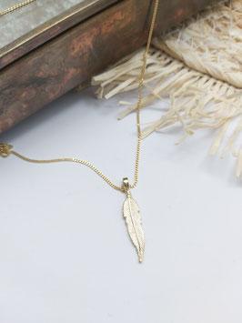 14 krt gouden collier 42cm  met gouden veertje