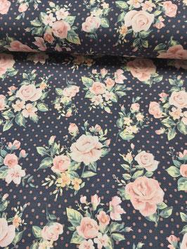 Jersey dunkelblau mit tollem Rosenbouquet und rosa Punkten, Grundpreis: 19,90€/m