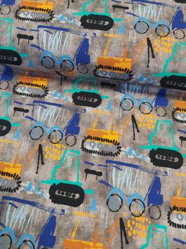 French Terry in grauer Batikoptik mit bunten Baufahrzeugen, Grundpreis: 18,90€/m