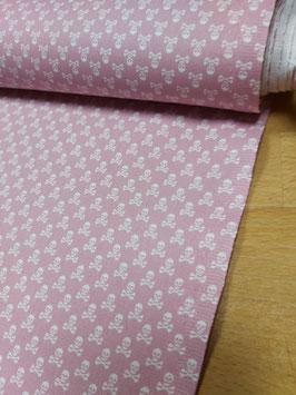 Baumwolle rosa mit kleinen weißen Totenköpfen, Grundpreis: 10,90€/m