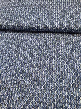 Baumwolle royalblau mit weißen Ornamenten, Grundpreis: 11,90€/m