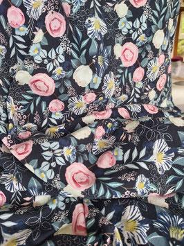 Leichter Sweat in dunkelblau mit pastellfarbenen Blumen, Fräulein von Julie,  Grundpreis: 19,90€/m