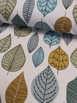 Weicher Sweat mit zarten Ornamenten und großen Blättern in Grüntönen, Fräulein von Julie,  Grundpreis: 19,90€/m