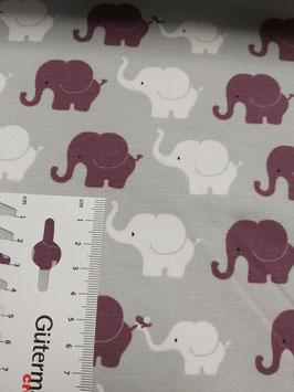 Jersey hellgrau mit weißen und beerenfarbenen Elefanten, Grundpreis: 17,90€/m