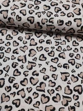Baumwolle sandfarben mit Herzen in Leo-Optik, Grundpreis: 10,90€/m