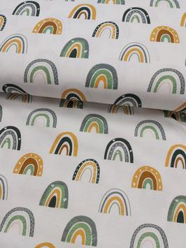 Jersey weiß mit Regenbögen in senf/dunkelmint/grau, Grundpreis: 16,90€/m