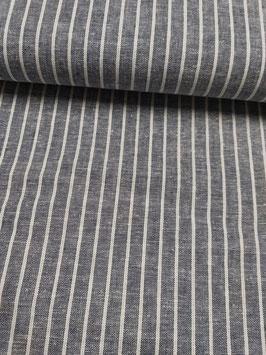 Baumwolle-Leinen Gemisch in grau mit dünnen weißen Streifen, Grundpreis: 14,90€/m