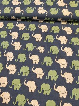 Jersey blau mit weißen und mintfarbenen Elefanten, Grundpreis: 16,90€/m