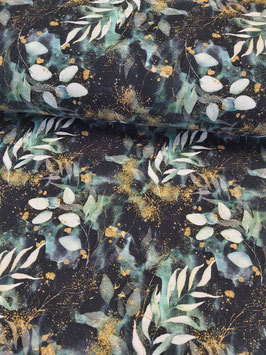 Weicher schwarzgrundiger Sweat mit Eukalyptus und Farn Blättern mit goldklecksen, Fräulein von Julie, Grundpreis: 20,90€/m
