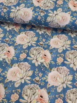 Weicher Sweat mit tollem bunten Blumenbouquet/Sukkulenten auf blau/Jeansoptik, Grundpreis: 19,90€/m