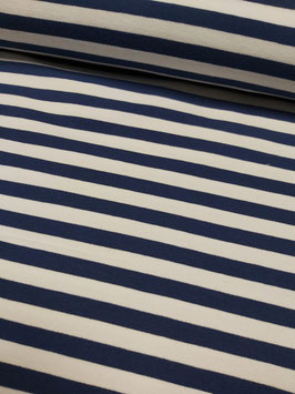 French Terry Streifen in marine blau/weiß, Grundpreis: 15,90€/m