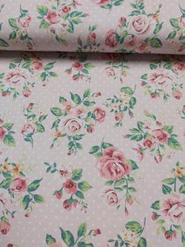 Jersey rosa mit tollem Rosenbouquet und weißen Punkten, Grundpreis: 19,90€/m