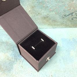 Little Silver Plain Bar Stud Earrings