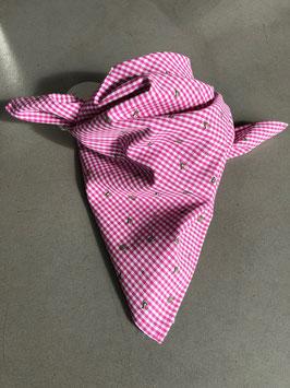 Trachtentuch Pink Vichy Springender Hirsch