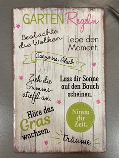 Gilde Blechschild Gartenregeln 20x30cm