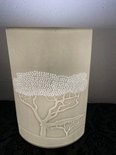 Gilde Porzellan Lampe Afrikanischer Affenbrotbaum