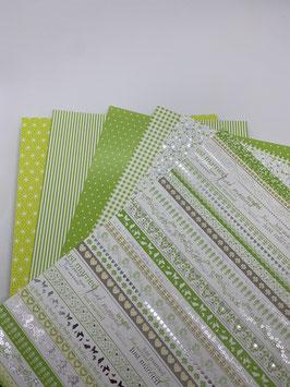 Motivkarton hellgrün/ weiß versch. Designs