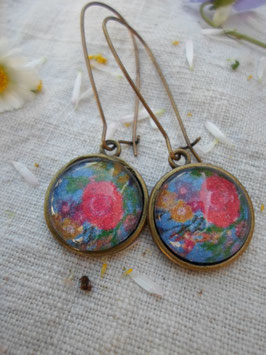 """Boucles d'oreilles cabochons de 18 mm , """" florale"""