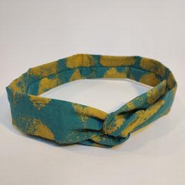 Head-band BIO 'turquoise et or' avec fil de fer