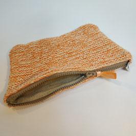 Pochette RECYCLÉE  'orange corail' à zip pour femme