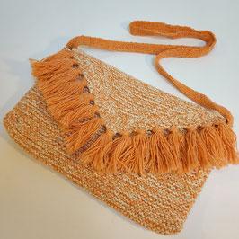 Pochette RECYCLÉE  'orange corail' à franges pour femme