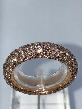 Diamantring in 750/000 Rotgold mit  3,87  ct braunen Diamanten besetzt