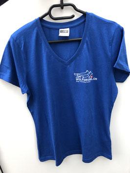 T-Shirt V-Ausschnitt blau