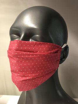 """Mund-Nasen-Maske für Erwachsene, """"Happy Dots"""", rosa mit Ohrengummis"""