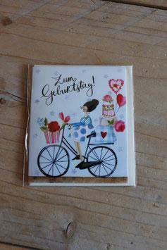 "Grätz Mini-Postkarte ""Zum Geburtstag"" Fahrrad"