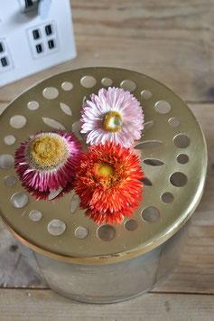 Glas mit Metalldeckel für Einzelblüten