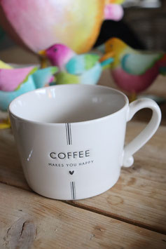 """Bastion Collections Tasse """" COFFEE MAKES YOU HAPPY """""""