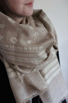 the moshi beiger Schal mit Lurex Streifen