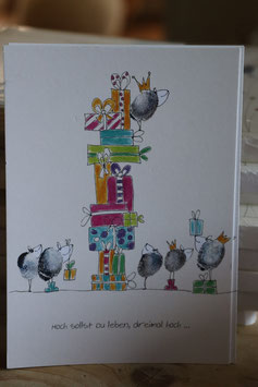 "KRaejen Postkarte "" Hoch sollst Du leben """