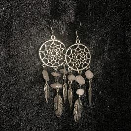 Boucles d'oreilles Attrapes rêves quartz rose