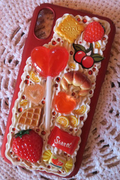 Coque IPHONE X/XS , Sucette coeur fruits rouges et biscuits