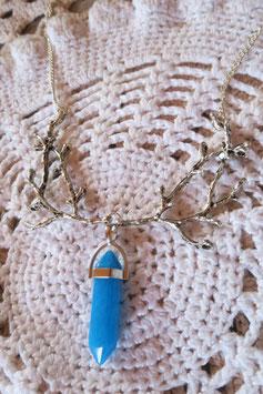 """Colliers """"Le pendule de la forêt"""" bleu"""
