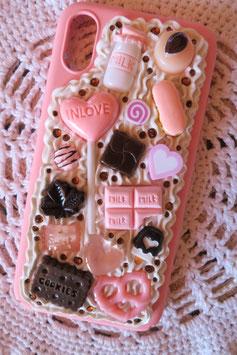 Coque IPHONE X/XS , Sucette chocolat rose et noir