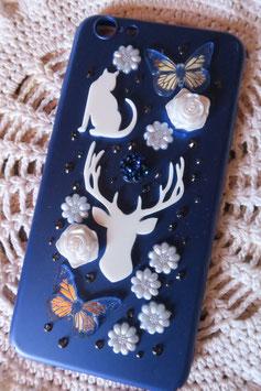 Coque IPHONE 6+/6S+ , Totem cerf blanc et bleu