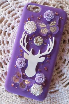 Coque pour IPHONE 5C - Totem cerf blanc et fond violet