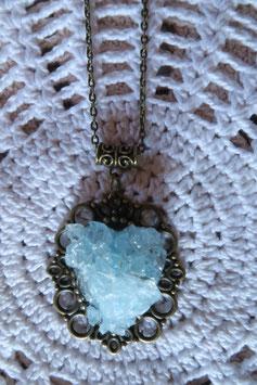"""Collier """"Coeur magique"""" bleu"""