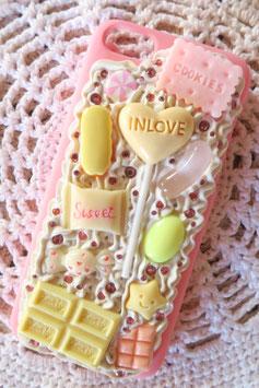 Coque pour IPHONE 5C - Sucette chocolat blanc et rose