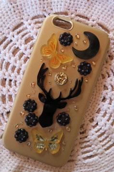 Coque pour IPHONE6/6S - Totem cerf - décor doré et noir