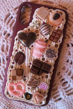 Coque IPHONE X/XS , Sucette choco et caramel rose