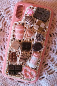 Coque IPHONE X/XS , Rose pastel et chocolats